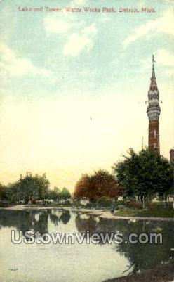 Lake and Tower, Water Works Park - Detroit, Michigan MI Postcard