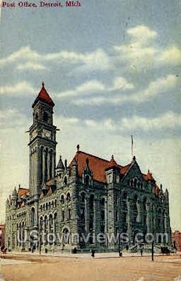 Post Office - Detroit, Michigan MI Postcard