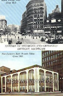 Manufacturers Bank Branch Office - Detroit, Michigan MI Postcard