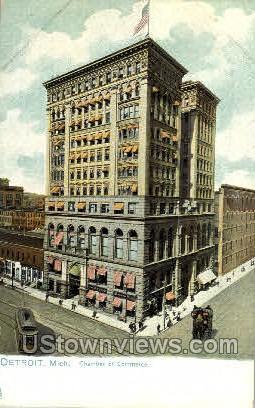 Chamber of Commerce - Detroit, Michigan MI Postcard