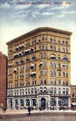 Home Savings Bank Bldg - Detroit, Michigan MI Postcard