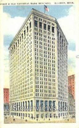 First & Old National Bank Bldg - Detroit, Michigan MI Postcard