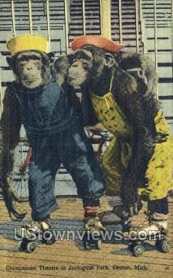 Chimpanzee Theatre, Zoological Park - Detroit, Michigan MI Postcard