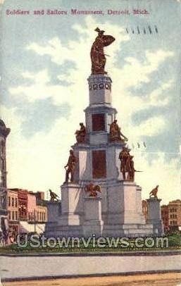 Soldiers & Sailors Monument - Detroit, Michigan MI Postcard