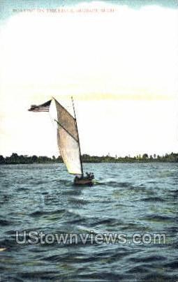 Boating on the River - Detroit, Michigan MI Postcard