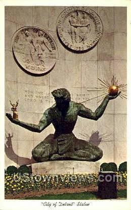 City of Detroit Statue - Michigan MI Postcard