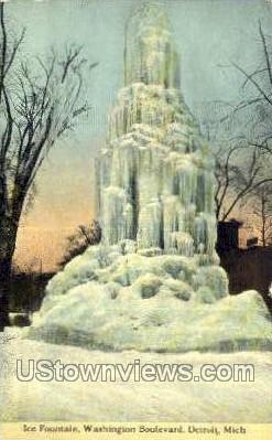 Ice Fountain, Washington Blvd. - Detroit, Michigan MI Postcard