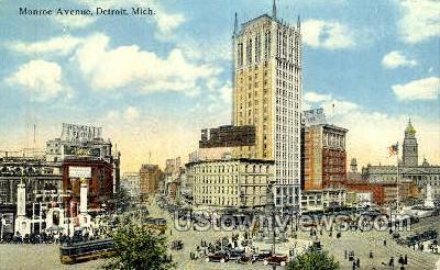 Monroe Ave - Detroit, Michigan MI Postcard