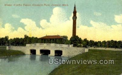 Galdwin Park, Water Works Tower - Detroit, Michigan MI Postcard