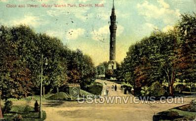 Clock & Tower, Water Works Park - Detroit, Michigan MI Postcard