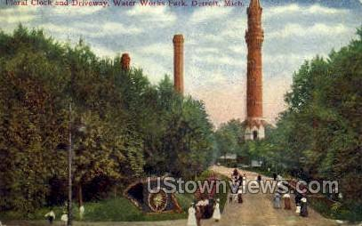 Floral Clock & Driveway - Detroit, Michigan MI Postcard