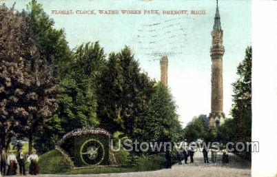 Floral Clock, Water Works Park - Detroit, Michigan MI Postcard