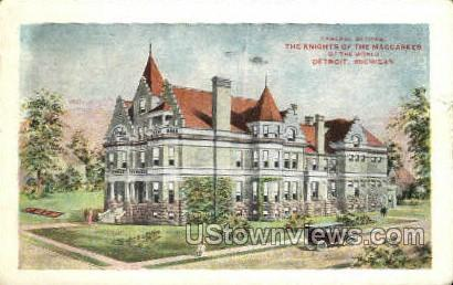 Knights of the Maccabees Temple - Detroit, Michigan MI Postcard