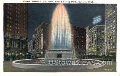 Edison Memorial Fountain - Detroit, Michigan MI Postcard