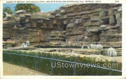 Bears at Detroit Zoological Park - Michigan MI Postcard