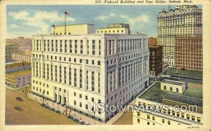 Federal Bldg & Post Office - Detroit, Michigan MI Postcard