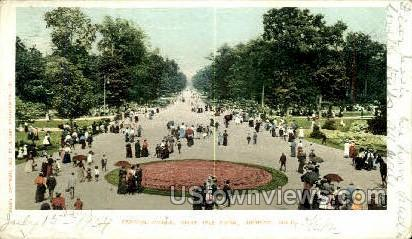 Centre Ave., Belle Isle Park - Detroit, Michigan MI Postcard