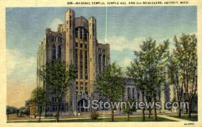 Masonic Temple - Detroit, Michigan MI Postcard