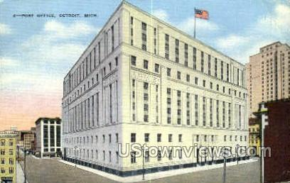 Post Office - Detroit, Michigan MI Postcard