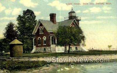 Light House, Belle Isle - Detroit, Michigan MI Postcard