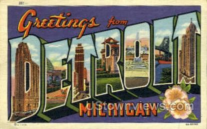 Detroit, Michigan, MI, Postcard