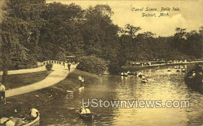 Canal, Belle Isle - Detroit, Michigan MI Postcard