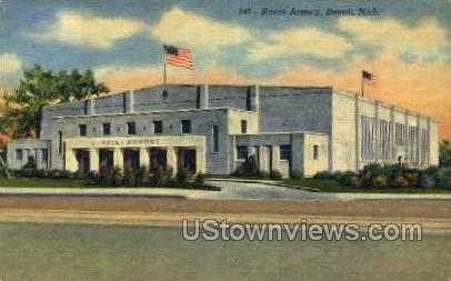 Naval Armory - Detroit, Michigan MI Postcard