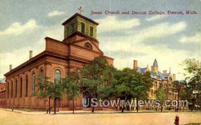 Jesuit Church & Detroit College - Michigan MI Postcard