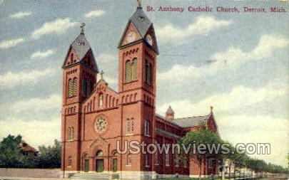 St. Anthony Catholic Church - Detroit, Michigan MI Postcard