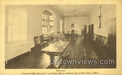 Parlour, Convent of Mary Reparatrix - Detroit, Michigan MI Postcard