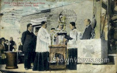 Bishop Foley Laying Cornerstone - Detroit, Michigan MI Postcard