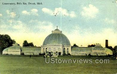 Conservatory, Belle Isle - Detroit, Michigan MI Postcard