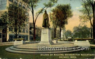 Statue Macomb Washington Blvd. - Detroit, Michigan MI Postcard