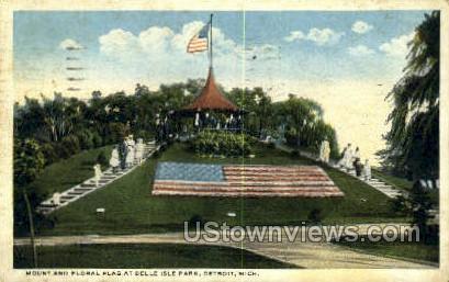 Floral Flag, Belle Isle Park - Detroit, Michigan MI Postcard