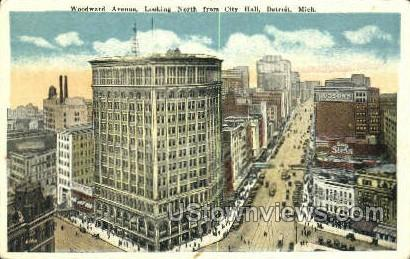 Woodward Ave., City Hall - Detroit, Michigan MI Postcard