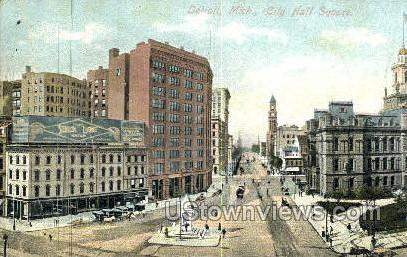 City Hall Square - Detroit, Michigan MI Postcard