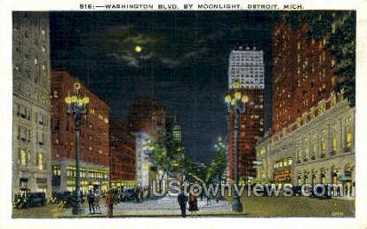Washington Blvd. - Detroit, Michigan MI Postcard