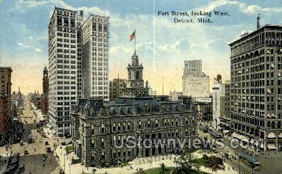 Fort Street - Detroit, Michigan MI Postcard