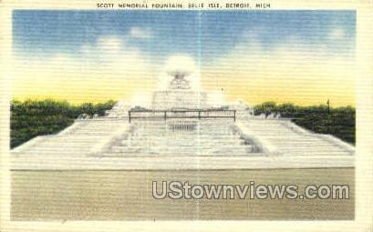 Scott Memorial Fountain - Detroit, Michigan MI Postcard