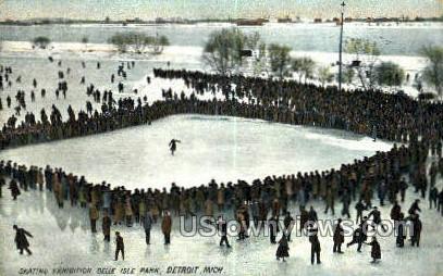 Skating Exhibition, Belle Isle Park - Detroit, Michigan MI Postcard