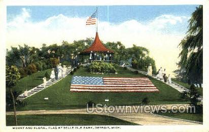 Mount & Floral Flag, Belle Isle Park - Detroit, Michigan MI Postcard