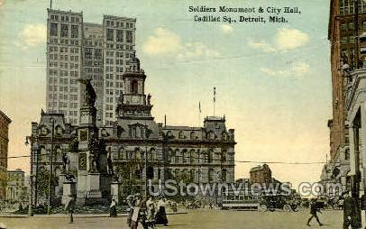 Soldiers Monument & City Hall - Detroit, Michigan MI Postcard
