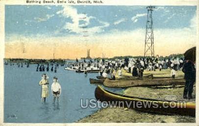 Bathing Beach, Belle Isle Park - Detroit, Michigan MI Postcard
