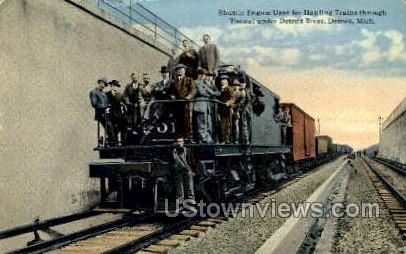 Electric Engine, Detroit River - Michigan MI Postcard