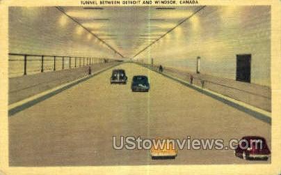 Tunnel, Detroit & Windsor - Michigan MI Postcard
