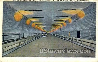 Detroit, Windsor Tunnel - Michigan MI Postcard