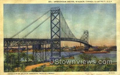 Ambassador Bridge - Detroit, Michigan MI Postcard