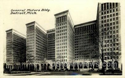 General Motors Bldg, Real Photo - Detroit, Michigan MI Postcard