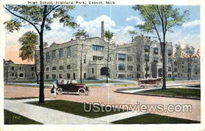 High School, Highland Park - Detroit, Michigan MI Postcard