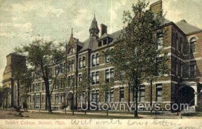 Detroit College - Michigan MI Postcard
